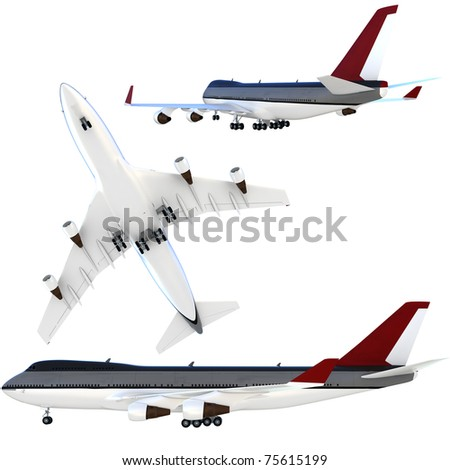 3d passenger collection plane isolated on white background