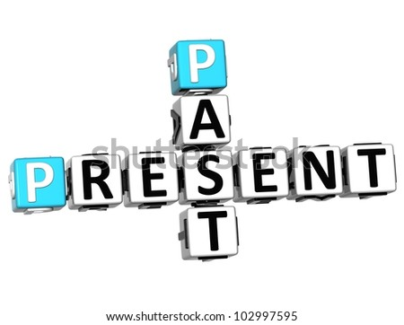 3D Past Present Crossword on white background