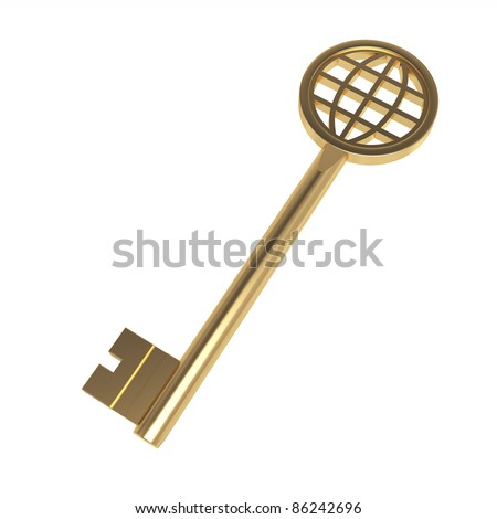 3d peace golden key on the white background - stock photo