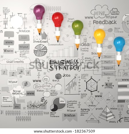 3d pencil light bulb with hand drawn  business strategy diagram as concept - stock photo