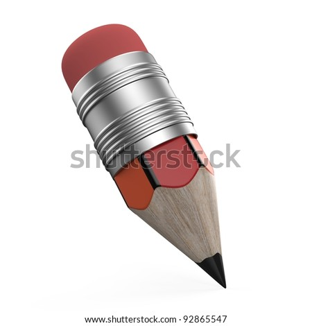 3D Pencil on white background - stock photo
