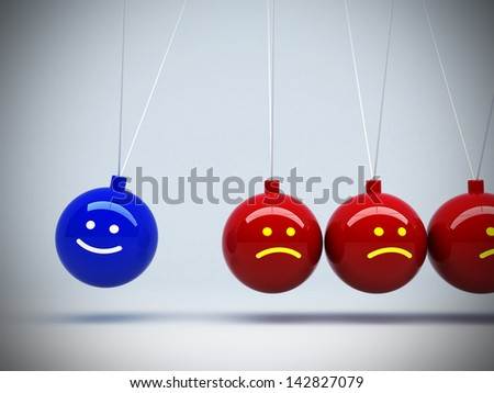 3d pendulum opposite mood happy and boring concept abstract background - stock photo