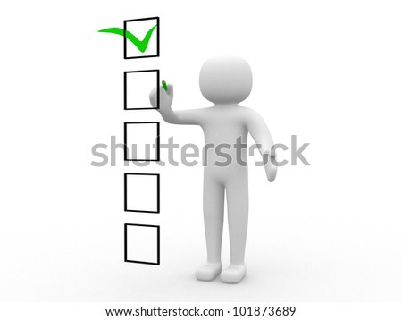 3d people and a checklist. 3d render illustration - stock photo