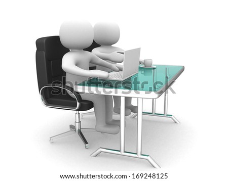 3d people and a laptop at a office. Business partners. 3d render