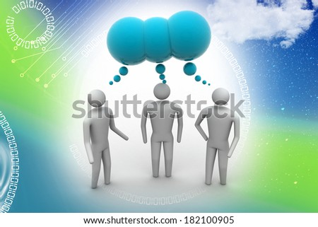 3d people  and speech bubbles - stock photo