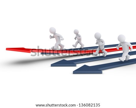 3d people are running on arrows and one is rising defining the leader - stock photo