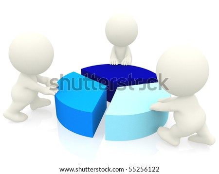 3D people around a pie chart isolated over a white background - stock photo
