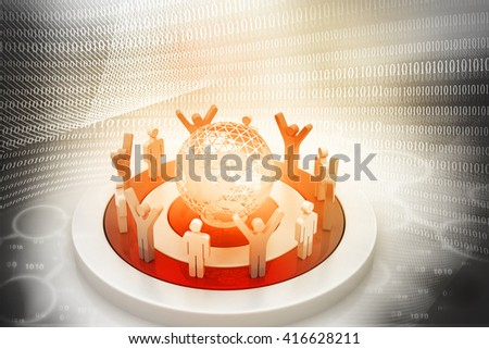 3d People Around the digital World	 - stock photo