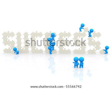 3D people around the word success isolated over a white background - stock photo