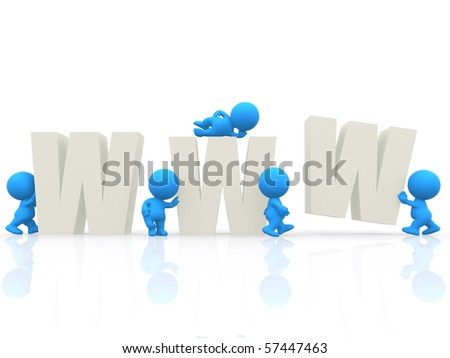 3D people around the WWW - isolated over a white background - stock photo