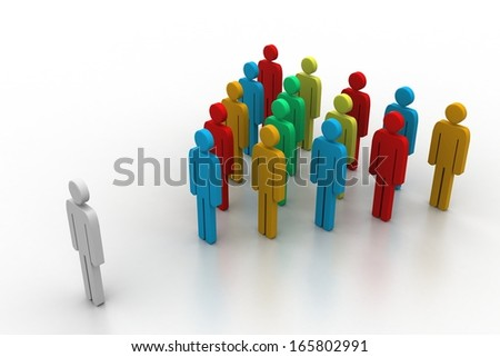 3d people arrange in que