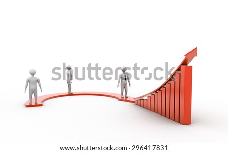 3d People- arrow and a graph indicate business growth - stock photo