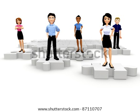 3D people as pieces of a business puzzle - isolated over a white background - stock photo
