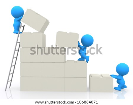 3D people assembling blocks and building a wall - isolated - stock photo