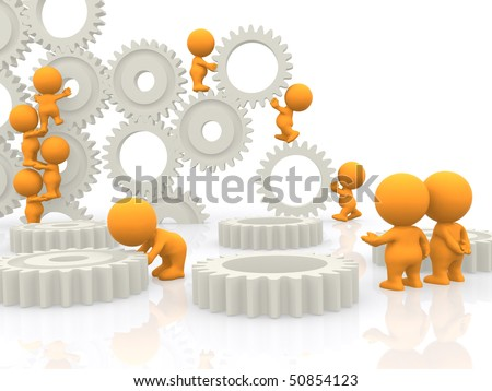 3D people assembling gears isolated over a white background - stock photo