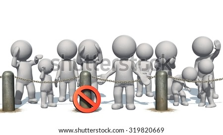 3D people behind chains blockade and stop sign  - separated on white background