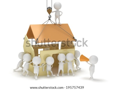 3D people build a house. Business, teamwork, assembling real estate concept. - stock photo