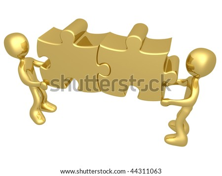 3d people carrying two merged puzzle pieces . - stock photo