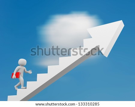 3d people climbing stairs with arrow - 3d render - stock photo