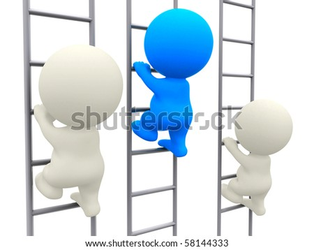 3D people climbing using a ladder isolated over a white background - stock photo