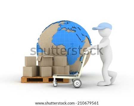 3d people concept delivery - stock photo