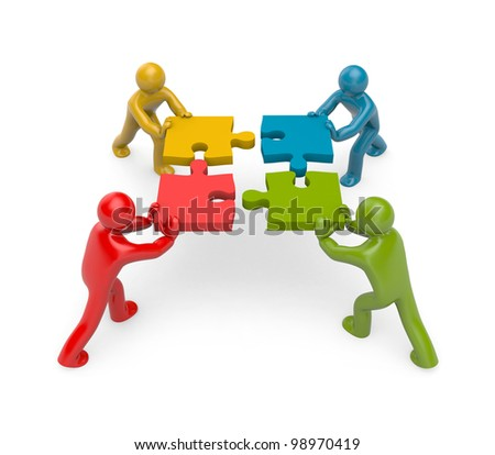 3d people connect puzzles. Partnership. Image contain clipping path - stock photo