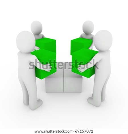 3d people cube box team green white business - stock photo