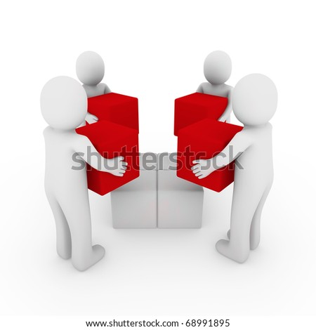 3d people cube box team red white business - stock photo