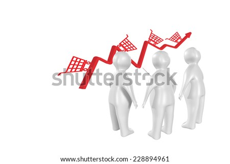 3D people discussing sales result - stock photo