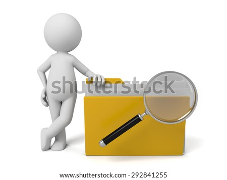 3d people examine some files with a magnifier. 3d image. Isolated white background - stock photo