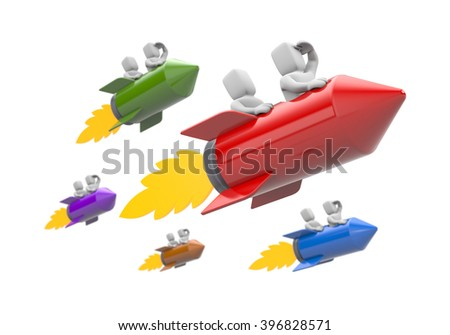 3d people flying on the rocket. 3D illustration - stock photo
