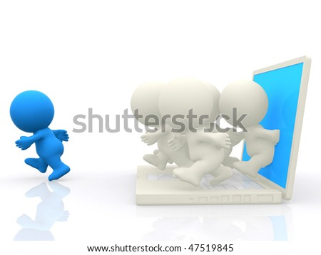 3D people following a leader coming out from a laptop screen - isolated - stock photo