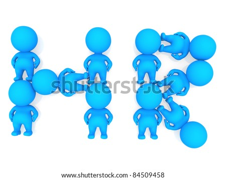 3D people forming a human resources sign - isolated - stock photo