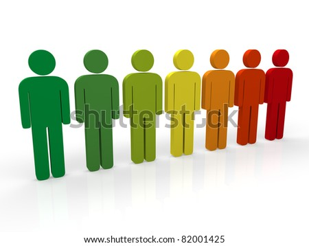 3d people group red teamwork colorful blue