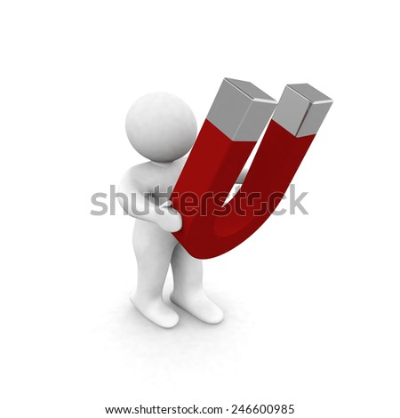 3d people  hold a magnet red - stock photo