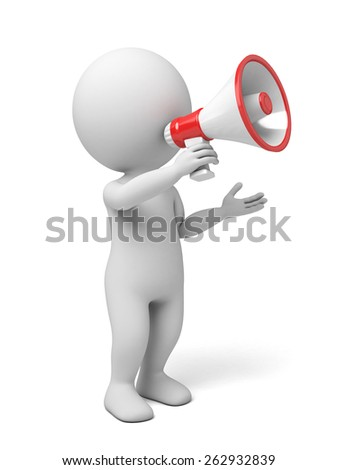 3d people holding a megaphone, 3d image. Isolated white background. - stock photo