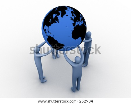 3d people holding earth on their hands. - stock photo