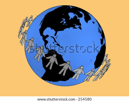 3d people holding hands around the globe - stock photo