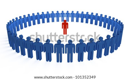 3d people holding hands in a big circle - stock photo