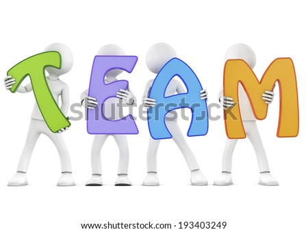 "3d people holding hands in the word ""team"". 3d image. Isolated white background. - stock photo"