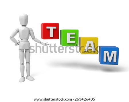 3d people holding hands in the word team. 3d image. Isolated white background. - stock photo