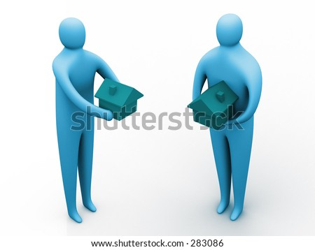 3d people holding houses. - stock photo
