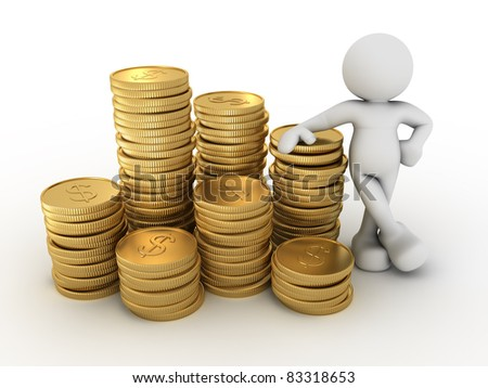 3d people - human character and a stack of coins. 3d render illustration - stock photo