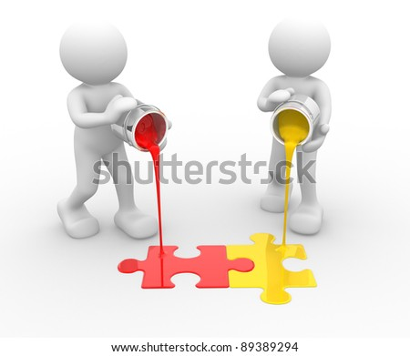 3d people - human character and colorful puzzle( jigsaw). 3d render illustration - stock photo