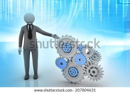 3d people - human character and gear mechanism - stock photo