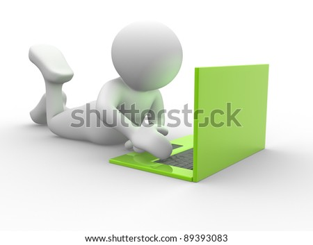 3d people - human character and laptop - This is a 3d render illustration - stock photo
