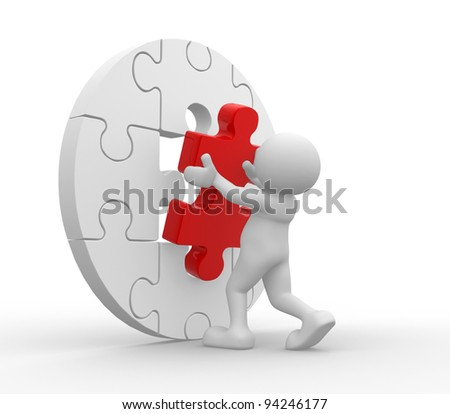 3d people - human character and  piece jigsaw (puzzle). 3d render - stock photo