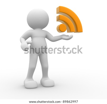 3d people - human character  and RSS symbol . 3d render illustration