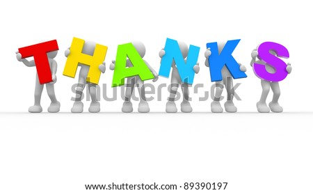 """3d people - human character and word""""Thanks"""". 3d render illustration - stock photo"""
