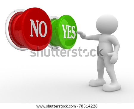 "3d people- human character choosing between ""yes""or ""no""-  This is a 3d render illustration - stock photo"